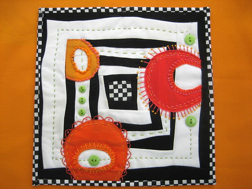 "Mini Art Quilt #5 or ""Curvy Squares"""