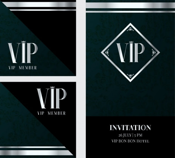 Vip Undangan Kartu Template Dekorasi Gelap Klasik Vektor Misc Vektor Gratis Download Gratis