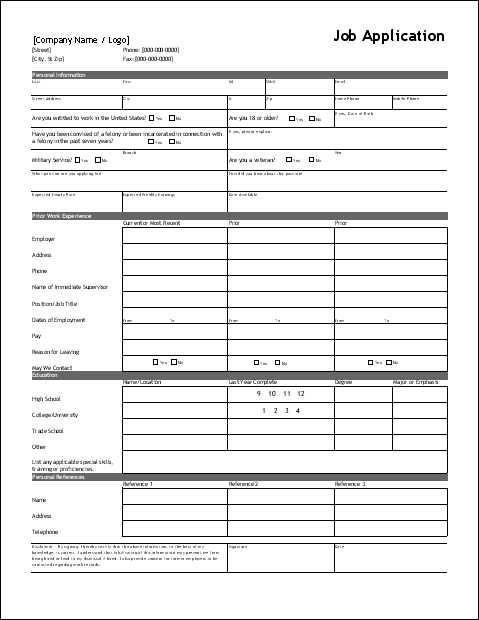 employment application form_references