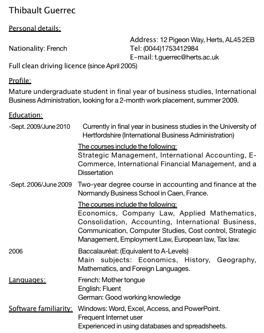 example resume  exemple objectif cv anglais