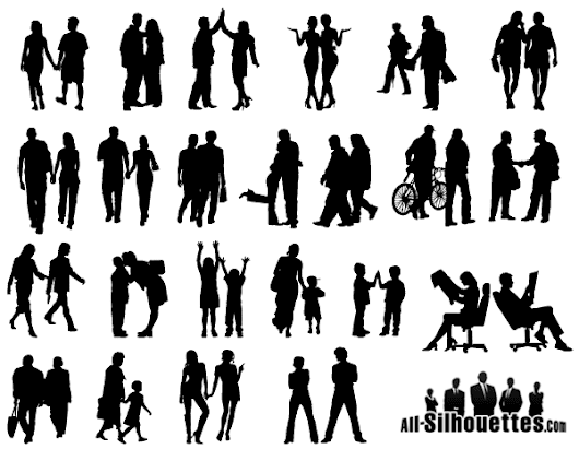 People in Couples Silhouettes Vector Free, Vector - 365PSD.com
