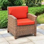 International Caravan Majorca Resin Wicker Patio Chair with Cushion Espresso