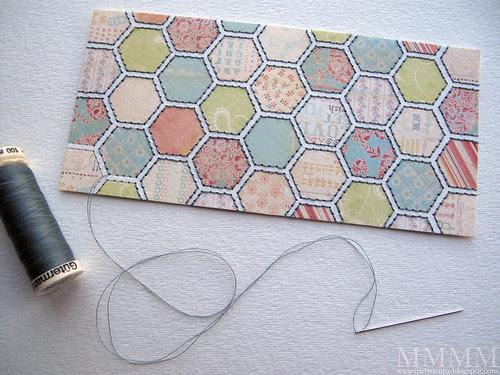 3) Print & stitch hexagon paper