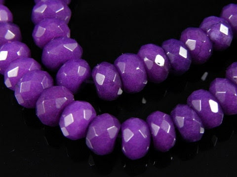 10 pc- Faceted PURPLE Rondelle Jade Beads, 8x5mm