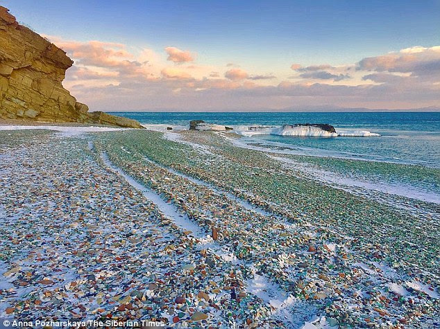 Glass Beach, on Ussuri Bay, near Vladivostok was once a Soviet dumping ground for old wine, beer and vodka bottles. But over time, nature has transformed the shards of broken glass into kaleidoscopic 'pebbles'