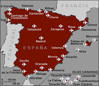 Resultado de imagen de mapa aeropuertos españa
