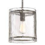 "Quoizel FTS1509 Fortress Single Light 9-1/4"" Wide Mini Pendant with a Glass Shad Mottled Silver Indoor Lighting Pendants"