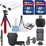 NB-11L Deluxe Accessory Bundle for Canon PowerShot Elph160, 170, 180, 190, 350, 360, along with a total of 32GB, Flexible Tripod, Battery, AC/DC