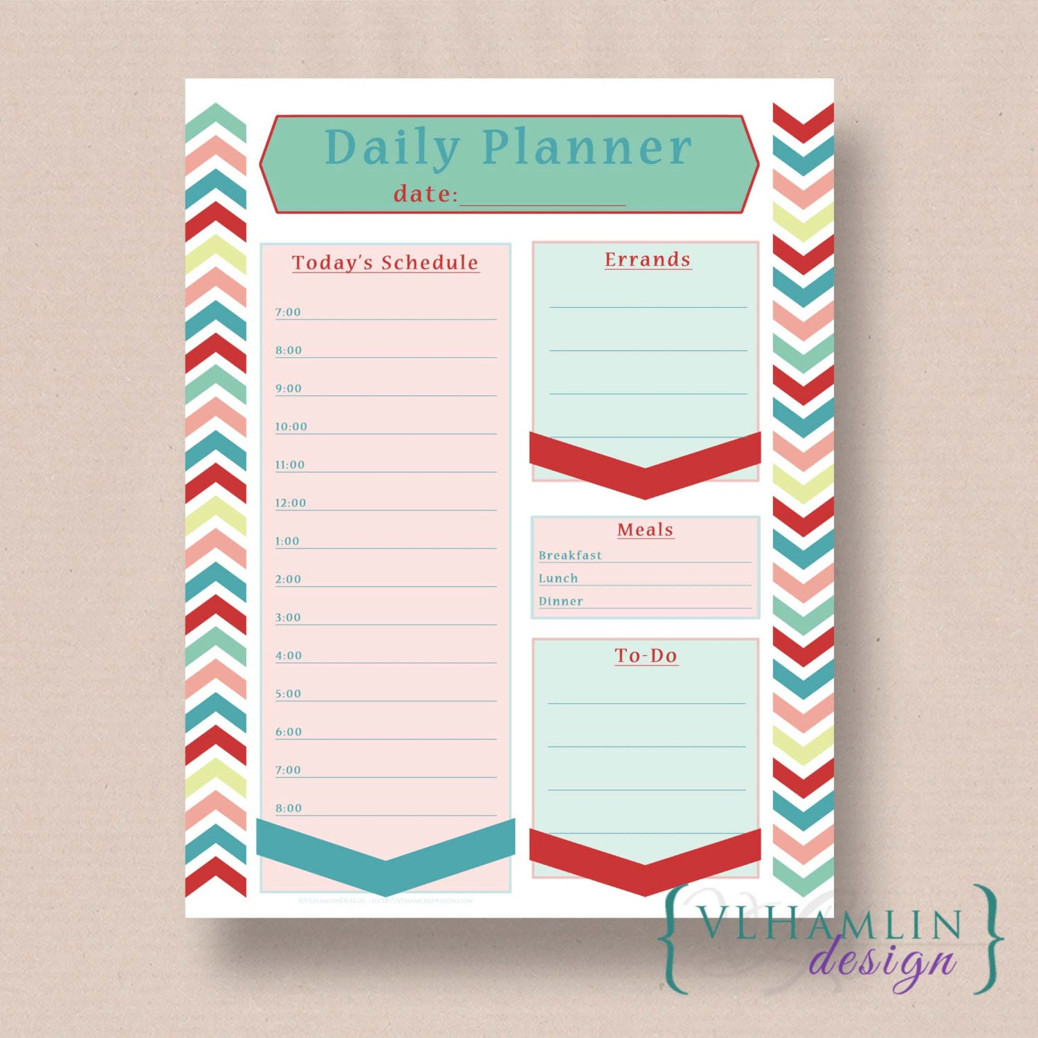 Items similar to Printable Daily Planner - Regency Collection ...
