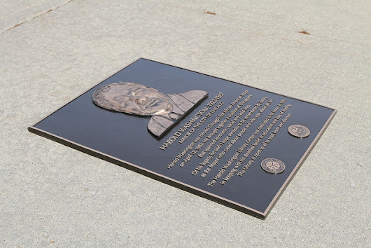 Bas Relief Plaque Dedicated to Former Mayor Harold Washington at Chicago Library