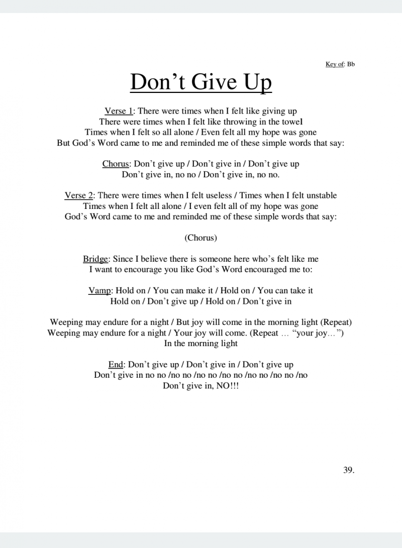 J Bass Ministries Dont Give Up Lyrics J Bass Songbook Volume 3