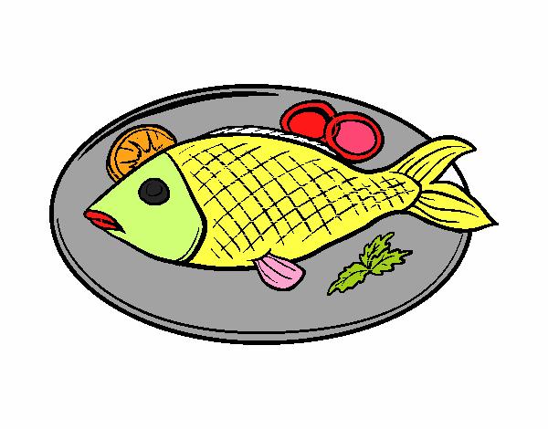 Imagenes De Pescado Frito Para Colorear