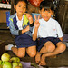 Schoolchildren in Produce Stand
