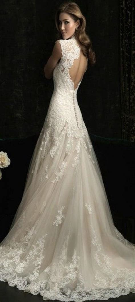 Vintage V Neck Sexy Open Back Lace Mermaid Wedding Dresses