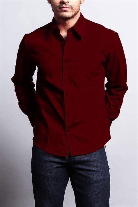 Men's Basic Solid Color Button Up Dress Shirt (Burgundy