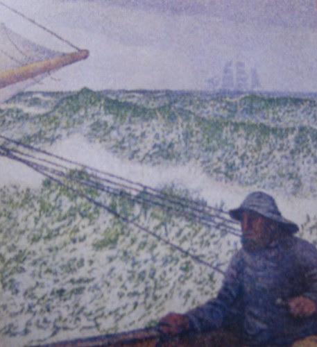The Man at the Tiller (detail), Théo van Rysselberghe, 1892, Musée d'Orsay, De Young Museum, San Francisco
