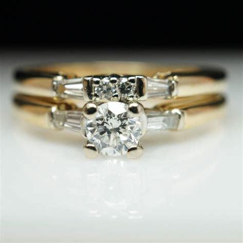 Unique Vintage Engagement Ring Diamond Ring 14k Yellow