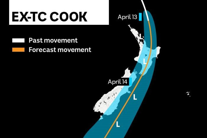 A graphic showing the forecasted movement of Cyclone Cook.