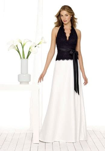 Scalloped halter top with side bow, and long skirt.