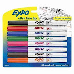Expo Dry-Erase Marker, Ultra Fine Point, Assorted- 8 per Set