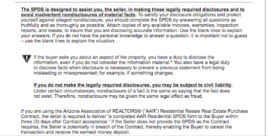 Seller Real Estate Disclosure Arizona