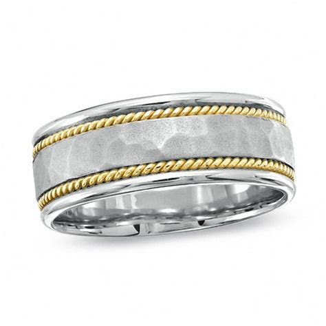 Men's 8.0mm Hammered Wedding Band in 14K Two Tone Gold