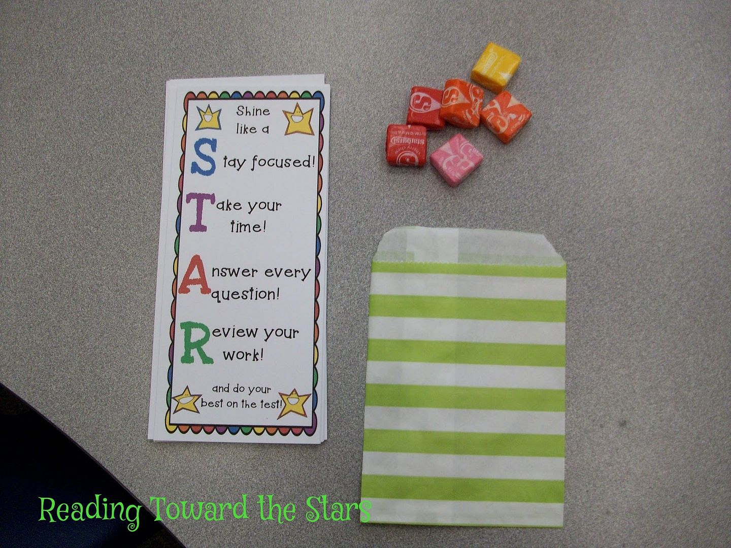http://www.teacherspayteachers.com/Product/Star-Testing-Motivation-Bookmarks-and-Testing-Sign-684746
