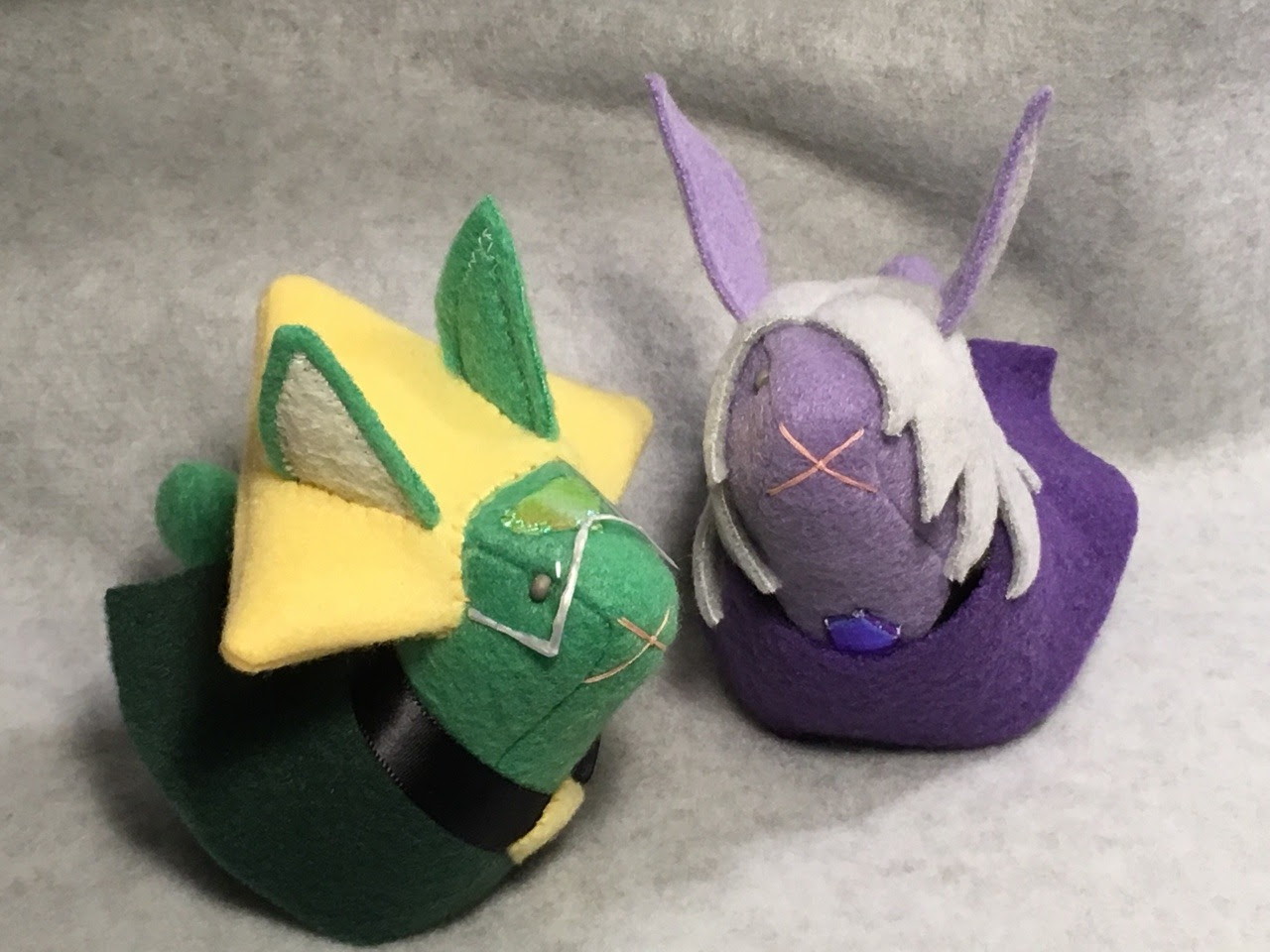 Peridot and Amethyst bunnies! custom made by >>The Stitchy Button