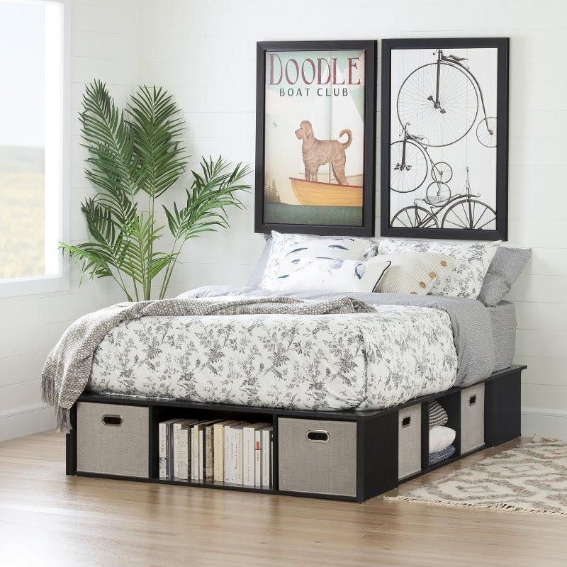 Black Oak Full Size Platform Bed with Storage and Baskets ...