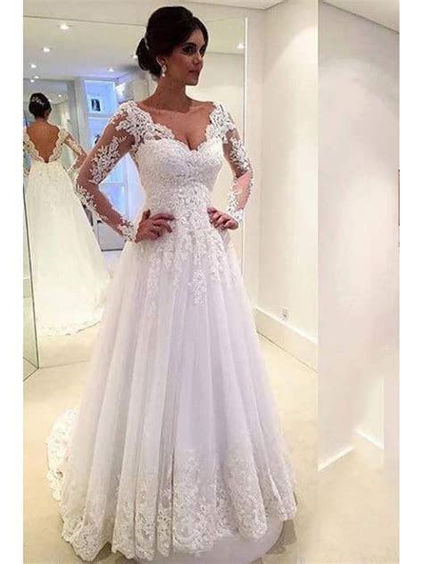 A Line Long Sleeves Lace V Neck Wedding Dresses Bridal