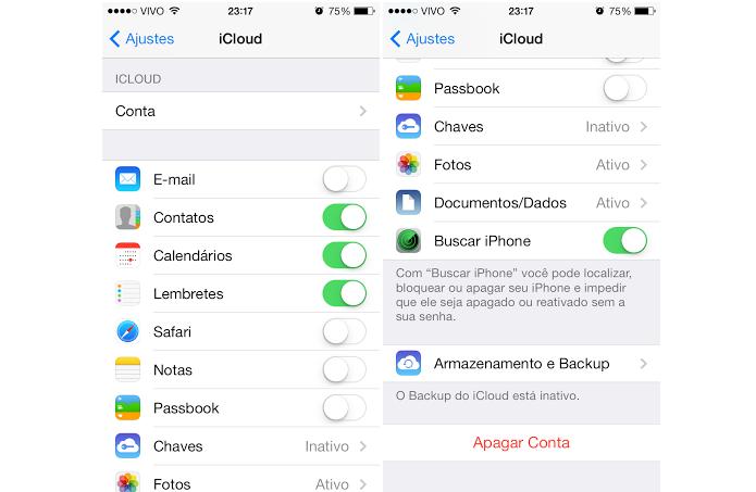 Configuração do iCloud precisa de senhas (Foto: Aline Jesus/TechTudo)