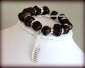 Amber Dyed Semiprecious Stone and Rhinestone Comb bracelet