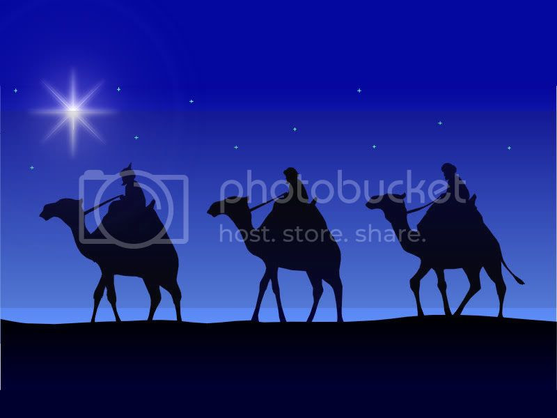 three wisemen on camels photo: Three Wisemen on Camels ThreeWiseMenblueskyandstars.jpg