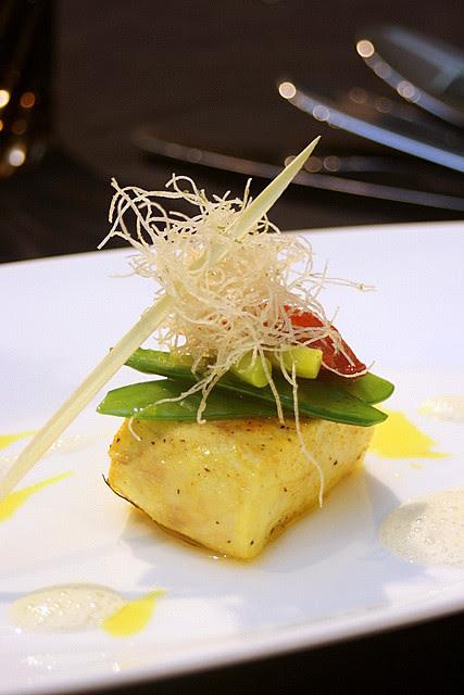 Pan fried sea bass with lemongrass and stewed baby leeks