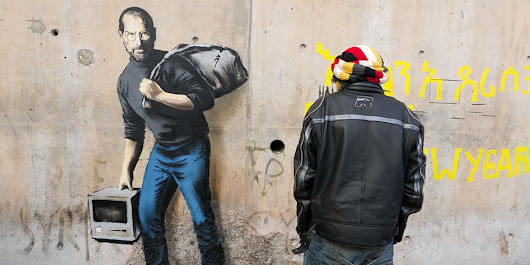 Banksy uses new Steve Jobs artwork to raise awareness of refugees