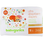 BabyGanics Ultra Absorbent Diapers Stage 1 (814 lbs.) 34 Diaper(s)