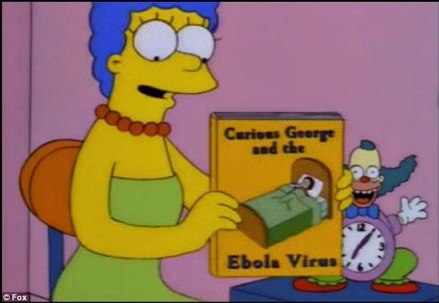 Secondo i teorici della cospirazione Internet, un episodio 1997 della stagione nove del popolare cartone animato, caratteristiche Marge cerca di convincere un Bart malato nella lettura 'Curious George e il virus Ebola'