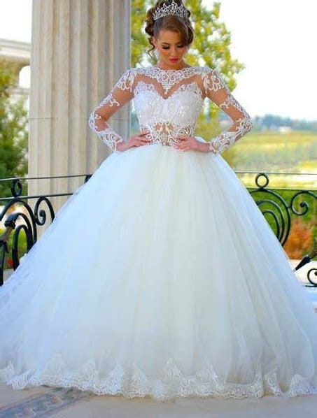 2019 Long Sleeves Ball Gown Wedding Dresses Sheer Lace