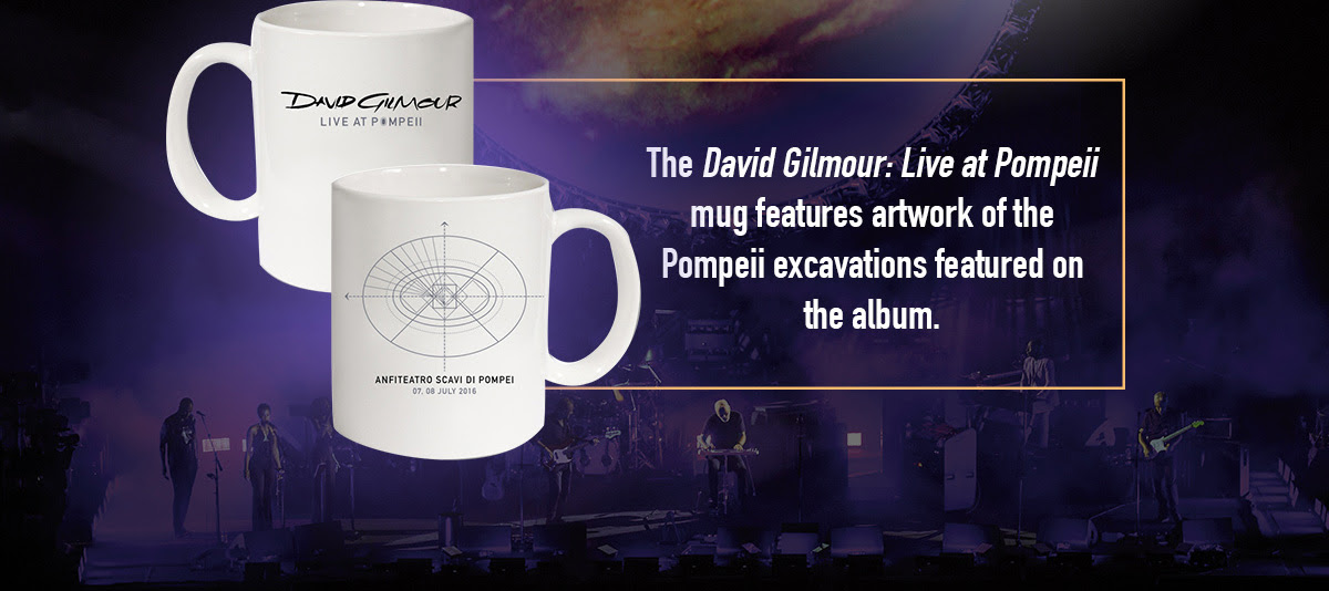 The David Gilmour: Live at Pompeii mug features artwork of the Pompeii excavations featured on the album.