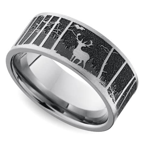 laser carved mountain themed mens wedding ring  titanium