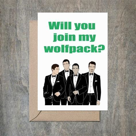 Will You Join My Wolfpack Card. Will You Be My Groomsmen Card.