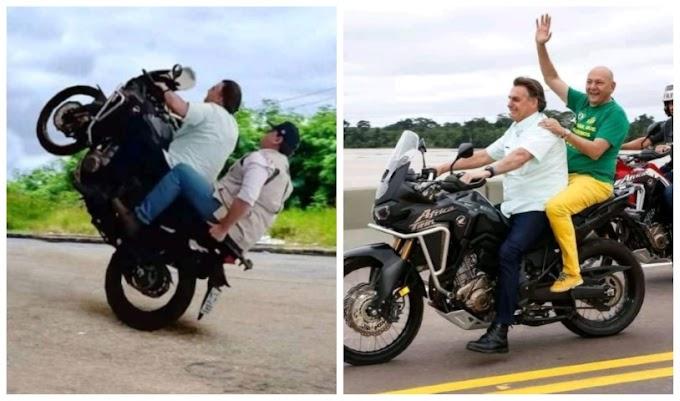 "Bolsonaro de moto fazendo ""grau"" com Ministro Tarcísio e Hang viraliza na internet"