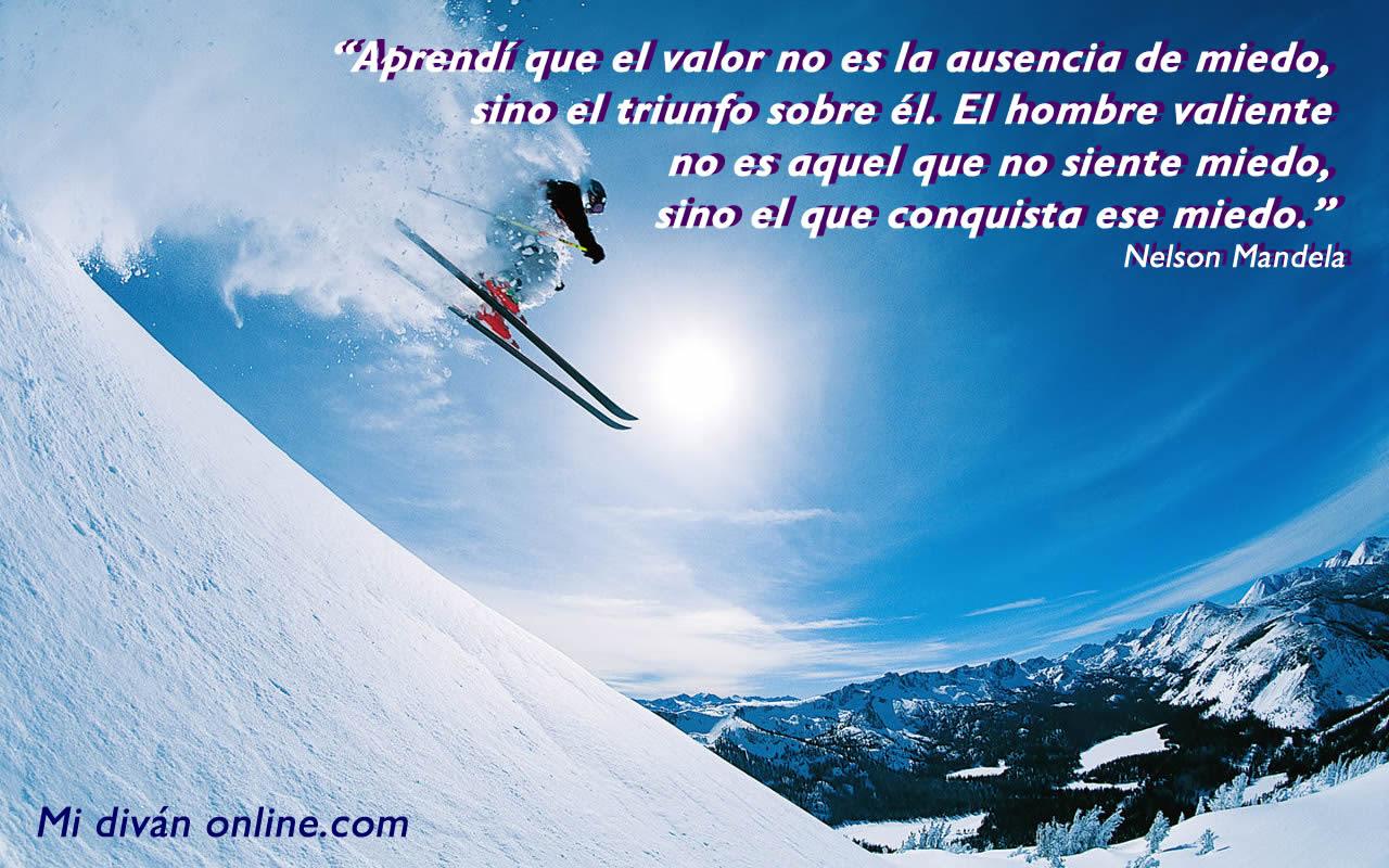 aprendi que el valor no es la ausencia de miedo sino el triunfo sobre el. el hombre valiente no es aquel que no siente miedo, sino el que conquista ese miedo. nelson mandela
