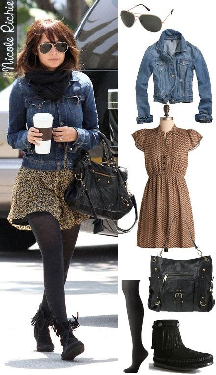 (Longer and more loose for me.) Denim jacket + dress + tights + boots. Dress by Number: Nicole Richie's Printed Dress and Moccasin Boots