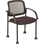 Black Mesh Guest Chair With Upholstered Seat