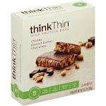 ThinkThin High Protein Bars, Chunky Peanut Butter Chocolate - 5 pack, 10.5 oz box
