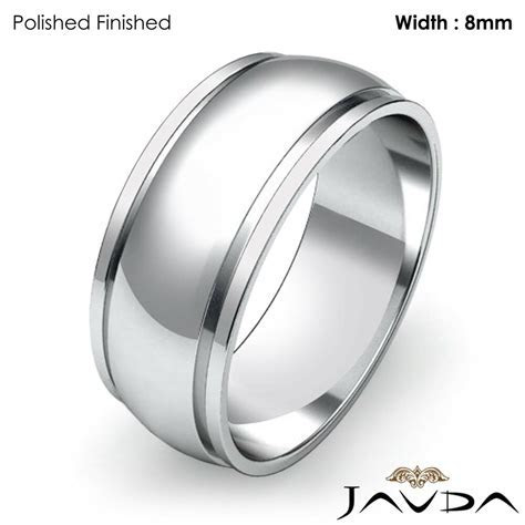 Wedding Band Women Plain Solid Dome Step Ring 8mm Platinum