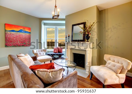 Living Room With Green Walls And Brown Sofa. Stock Photo 95931637 ...