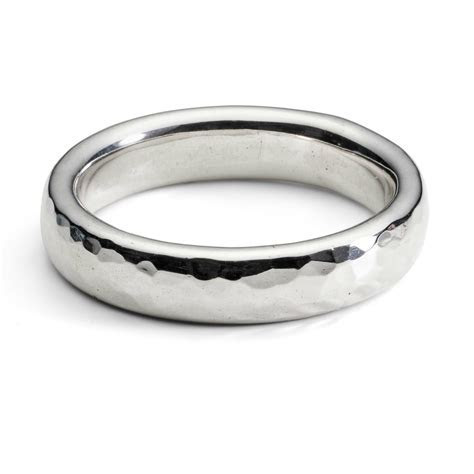 Simple hammered heavy unisex silver ring   Handmade gold