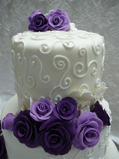 Purple Roses Wedding Cake   CakeCentral.com